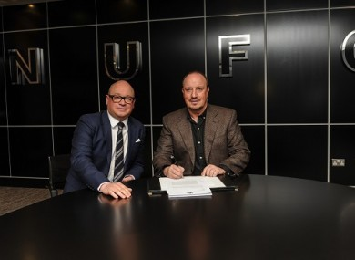 Benitez with Charnley in the slick Newcastle boardroom.