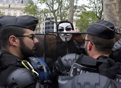 French police facing anti-police protesters earlier this week
