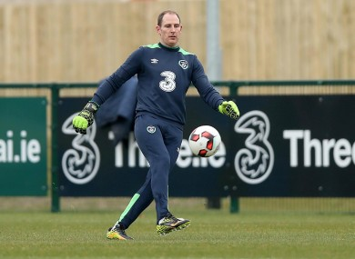 Goalkeeper Gary Rogers pictured at Ireland training.