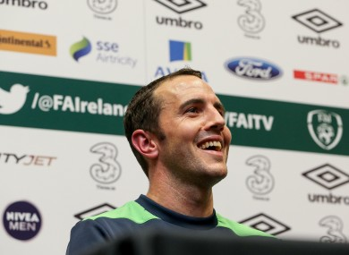 John O'Shea pictured at the Republic of Ireland Press Conference today.