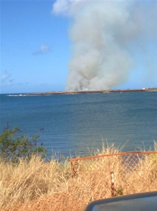 In this photo provided by Ryan Richardson, plumes of smoke are seen from Port Allen Harbor across an inlet after a plane crashes just outside Port Allen Airport on the island of Kauai.