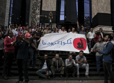 Journalists in Cairo during a protest to mark World Press Freedom Day last week