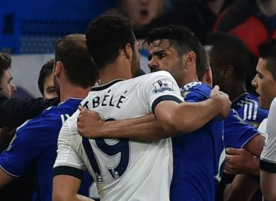 Mousa Dembele and Diego Costa clash during Chelsea's Premier League meeting with Tottenham.