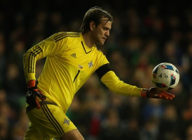 Roy Carroll in goal for Northern Ireland during a friendly against Slovenia at Windsor Park back in March.