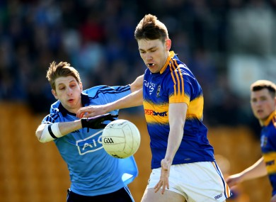Tipperary's Liam Casey under pressure from Dublin's Ross McGowan during last year's EirGrid All-Ireland U21 football semi-final.