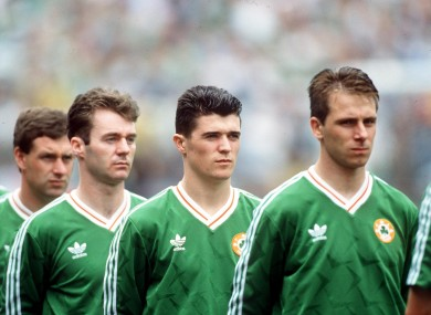 Roy Keane (centre) lines up before the game against Chile.