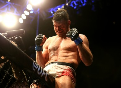 Michael Bisping celebrating his win against Anderson Silva back in February.