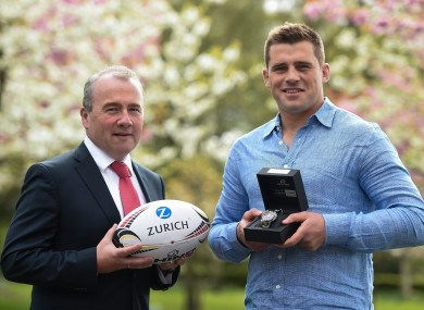 CJ Stander collecting his award.