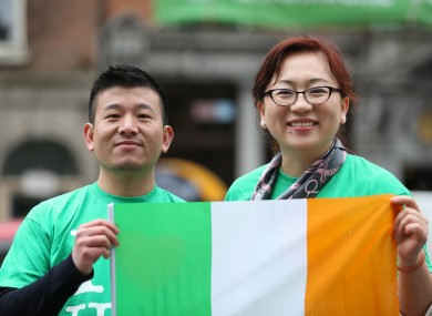 Supporters of the 'undocumented Irish' protesting during the St. Patrick's Day festival.