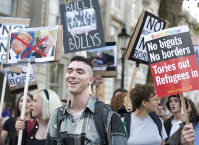 Protestors outside Downing Street yesterday following the Brexit vote.