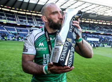 Connacht captain John Muldoon celebrates with the Guinness Pro12 trophy following their win over Leinster in last month's final.
