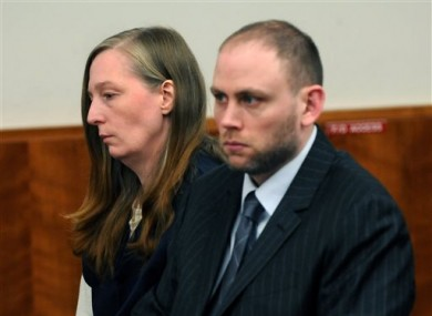 (FILE PHOTO) Stacey Castor, left, and her attorney Charles Keller listen in Syracuse, N.Y as she is sentenced in 2009.