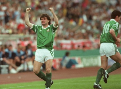Ray Houghton celebrates scoring against England.