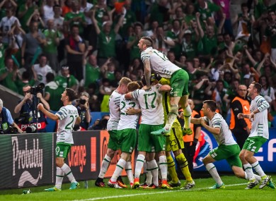 The Ireland players after Brady's goal earlier this week.
