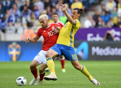 Ibrahimovic up against Wales' Aaron Ramsey in a recent friendly.