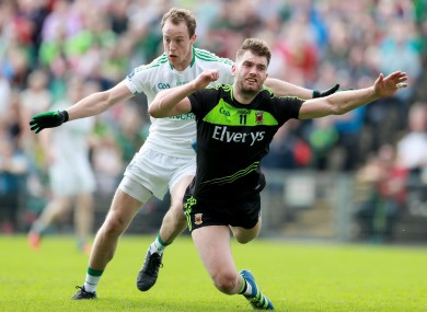 Mayo's Aidan O'Shea takes a tumble against Fermanagh to win a controversial penalty.