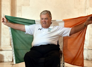 John Twomey poses at the announcement of the Irish Paralympic Team for the 2016 Paralympic Games.