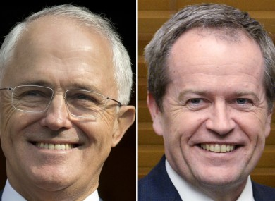 Australian Prime Minister Malcolm Turnbull, left, and Australian opposition leader Bill Shorten