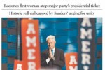 US papers taking all kinds of flak for headlining Hillary's nomination with a picture of Bill
