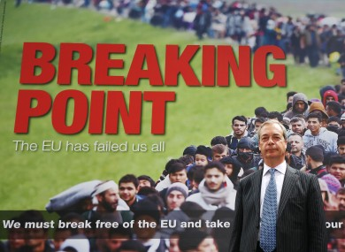 UKIP leader Nigel Farage stands before a  Brexit poster featuring a queue of migrants. The poster's anti-immigrant tenor was criticised even by politicians, such as Boris Johnson, urging a Leave vote