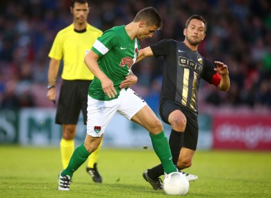 Cork City's Gavan Holohan is tackled by BK Hacken's Martin Ericsson during their Europa League clash at Turner's Cross.