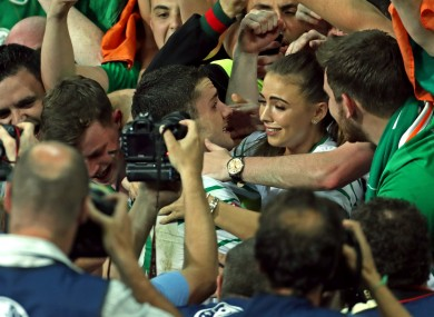 Republic of Ireland's Robbie Brady (centre) celebrates after the final whistle of their Euro 2016, Group E match against Italy at the Stade Pierre Mauroy, Lille.