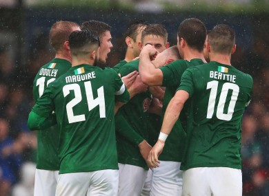Cork City players celebrate following Kevin O'Connor's goal in last week's win over BK Hacken.