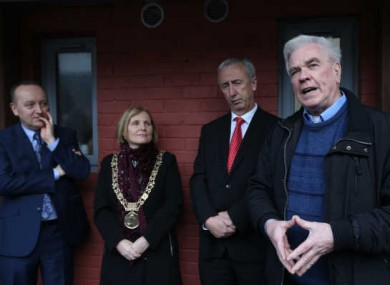 Peter McVerry Trust CEO Pat Doyle, Dublin Lord Mayor Criona Ni Dhalaigh, and then minister Kevin Humphries join Peter McVerry in launching 13 new social housing units before Christmas in partnership with the Construction Industry Federation and Dublin City Council