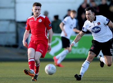Craig Walsh (left) pictured up against Richie Towell during a 2015 FAI Cup match between Dundalk and Shelbourne.