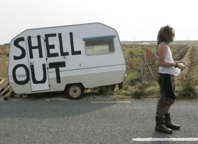File photo of a Shell To Sea protest against the development of the Corrib gas field in north Mayo