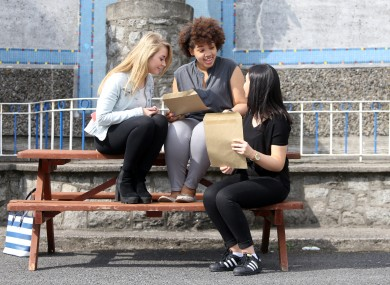 Students receive their Leaving Cert results last year.
