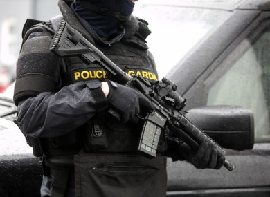 An armed Garda on the streets of Dublin in February of this year in the wake of the gangland killings of David Byrne and Eddie Hutch.