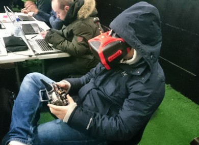 A competitor racing a drone at last year's Irish Drone Nationals.