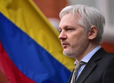 Julian Assange at the Ecuadorian embassy in London.