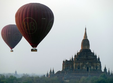 Balloons carrying tourists near old temples in Bagan, Myanmar. A powerful 6.8-magnitude earthquake shook central Myanmar today, damaging scores of ancient Buddhist pagodas in the former capital of Bagan.