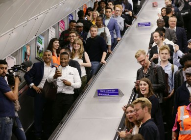 Passengers on the Tube in London.