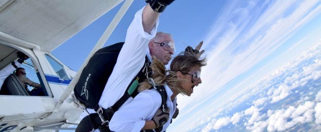 Tandem Master Tony Donnelly and Vogue Williams jump from 13,000 feet at the inaugural Škoda skydive, which donated 5,000 to Dogs Trust Ireland.