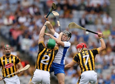 Waterford's Jake Dillon battling for the ball with the Kilkenny defence.