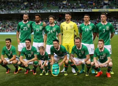 Ireland's starting XI.