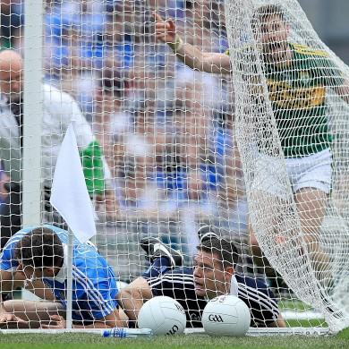 Paul Geaney celebrates after Kerry's second goal yesterday against Dublin.