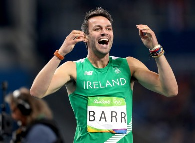Ireland's Thomas Barr celebrates after coming first in his semi-final.