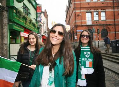 Tourists on St Patrick's Day.