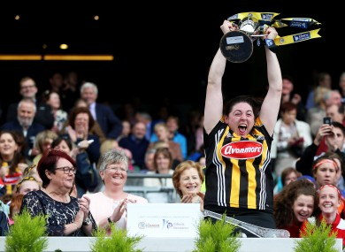 Glory days: Aine Fahey lifts the Jack McGrath Cup for Kilkenny.