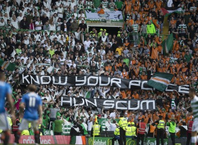 Sectarian slogans were also unveiled during the match.