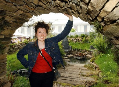Mary Reynolds pictured with her garden in 2002.