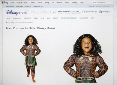 this photograph of a computer screen shows the disneystorecom websites maui halloween costume