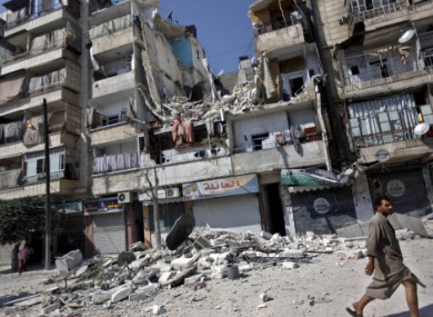 A building destroyed by an airstrike in Aleppo.