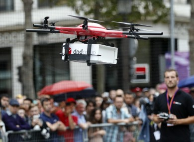Drone holding a box at the Paris Drone Festival