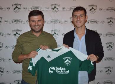 NY Shamrocks technical director Kevin Grogan and new signing Jamie Clarke.