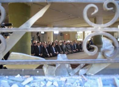 Syrian President Bashar Assad praying in a mosque in Damascus for Eid al-Adha